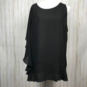 Sejour NWOT Ruffled One-Shoulder Black Blouse